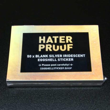 Blank sticker pack on silver-iridescent Eggshell foil